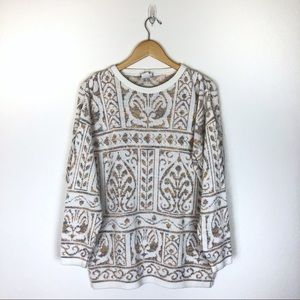 Vintage oversized cream sweater with sparkle L